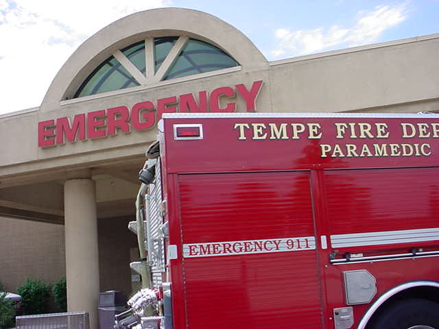 Tempe fire dapartment <br> at the hospital on Mill