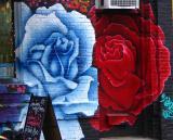 Painted Brick Roses