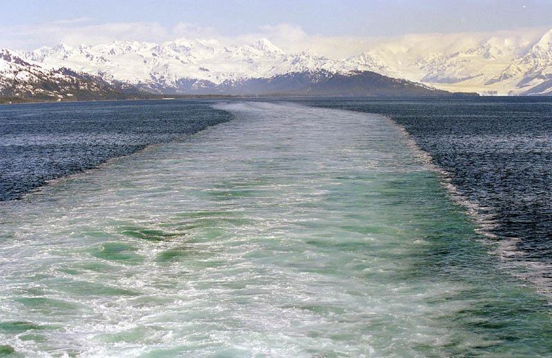 Ships Wake leaving Glacier Bay