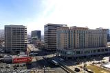 Buildings around State Street and 200 South from a parking structure