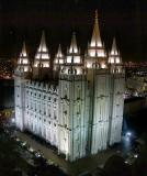 Salt Lake LDS Temple at Night from the J. Smith Memorial Bldg.