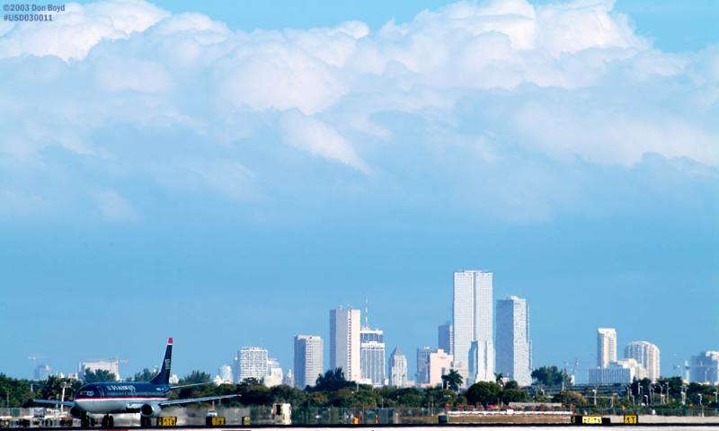 Downtown Miami skyline from Miami Intl Airport stock photo #2971