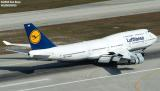 Lufthansa B747-430 D-ABVM landing on runway 12 at Miami International Airport airline aviation stock photo