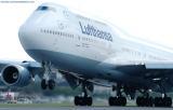 Lufthansa B747-430 D-ABVO takeoff at Miami International Airport aviation stock photo