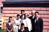 Family posing after church at Easter, 1962 (653)