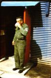 1st Sgt. Harold Cartin 1954 in front of the K-16 orderly room.
