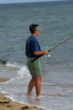 Trying to land a bluefish on Chappaquiddick.