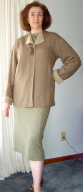 Jacket Closed over Olive Knit pieces.
