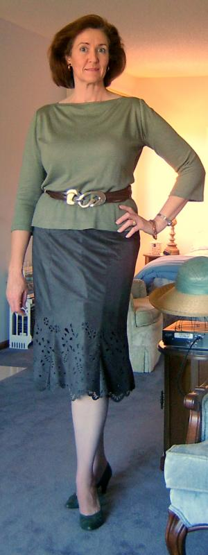 Faux Suede Scalloped Skirt