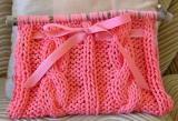 Peach Knitted Bag with Rustic Handles