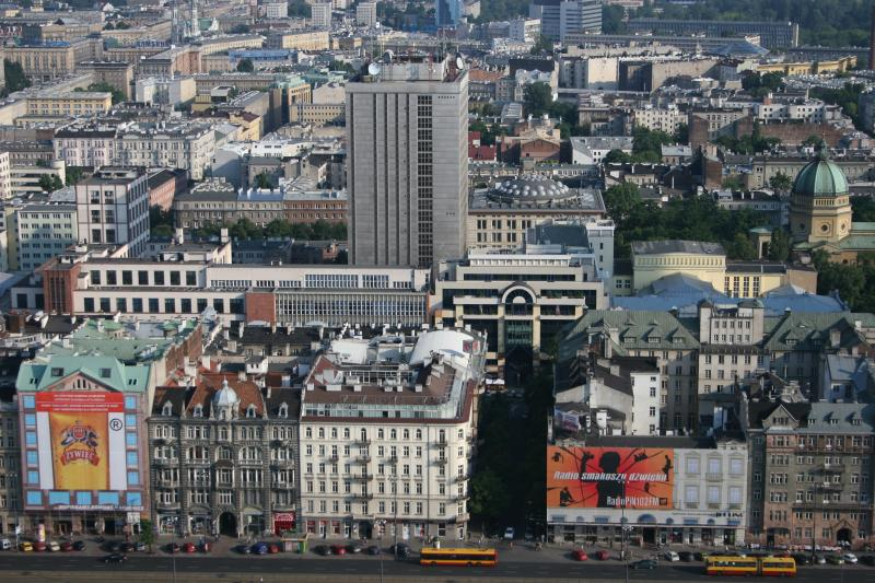 views of Warsaw, the city 85% destroyed in WWII