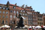 Warsaw Old Town Square and the Mermaid Monument