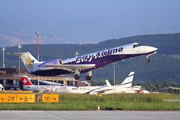City Airline ERJ-135 departing from Zurich