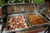 Bacon-wrapped scallops & crabcakes