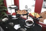 strawberreis in balsamic vinegar with mascarpone whipped cream, & fondue.