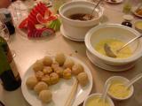 Stewed chicken in a pot, dim sum siu mai, green tea balls, cold mango soup (YUM!!!)
