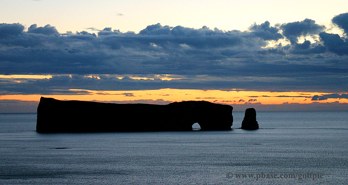 Sunrise at Perce Rock in the Gaspe, Quebec.