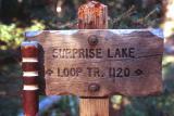 Surprise Lake trail sign