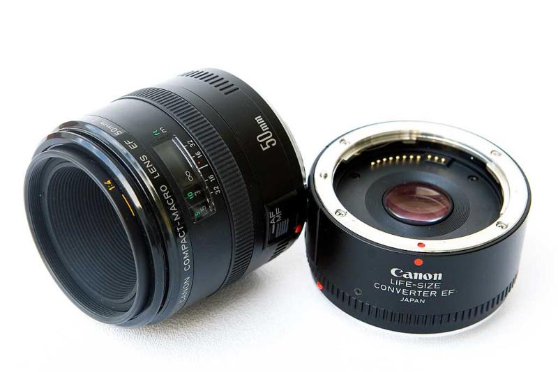 Canon Compact-Macro EF 50mm f/2.5 with Life Size Adapter