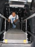 Climbing the stairs in the Island to get to the Primary Flight Control