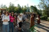 greeting at maple village by monks
