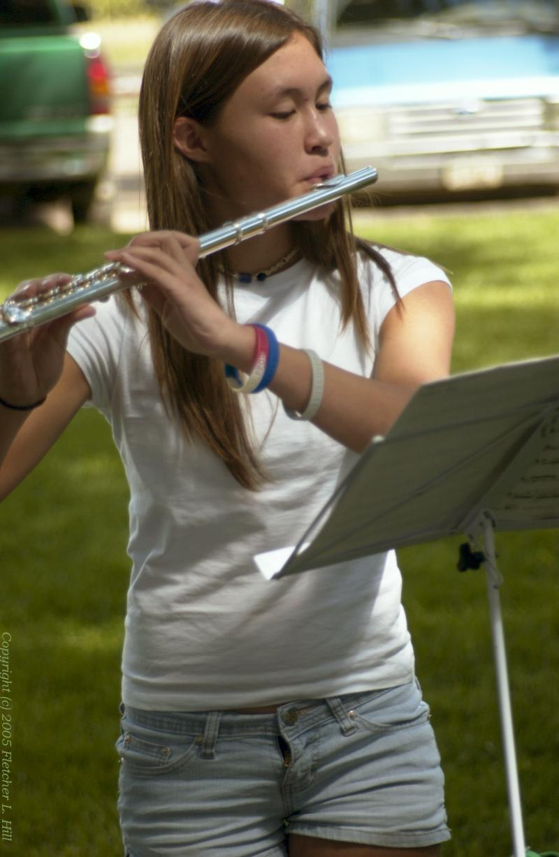 Young Flautist in the Park
