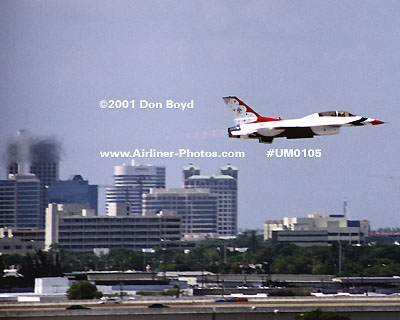 2001 - USAF Thunderbird takeoff from Ft. Lauderdale-Hollywood International Airport military aviation stock photo #UM0105
