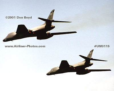2001 - USAF Rockwell B-1 Lancer bombers military aviation stock photo #UM0115