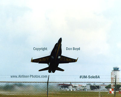 Early 90s - USN Blue Angel solo takeoff military aviation stock photo #UM-SoloBA