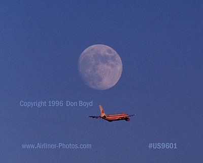 1996 - American A300B4-605R taking off under a full moon aviation airline stock photo #US9601