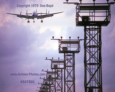 1979 - Lockheed Constellation on short final approach aviation cargo airline stock photo #SS7901