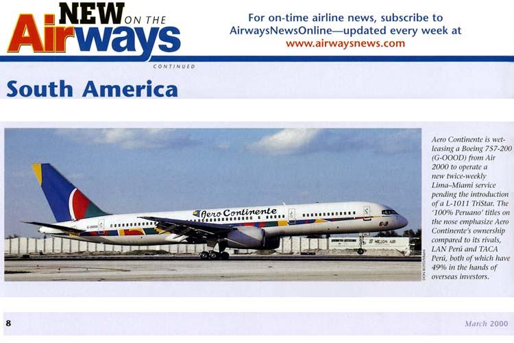 2000 - Airways magazine - Aero Continente B757 G-OOOD photo