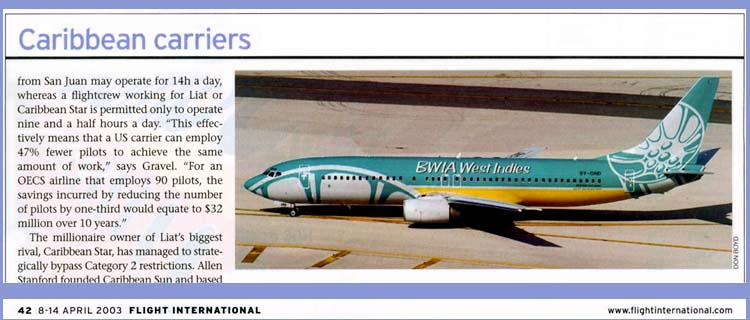 2003 - Flight International magazine - BWIA B737-86N 9Y-GND photo