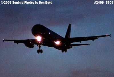 JetBlue A320 approach at sunset aviation stock photo #2409