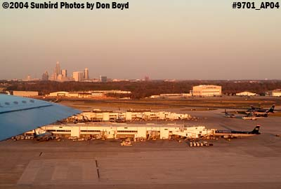 Charlotte Douglas International Airport at sunset aviation stock photo #9701