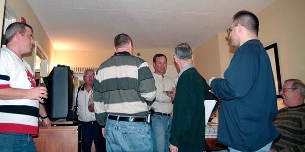 Ryan Hales, Mike Kent, Joe Pries, Bob Patterson, Richard Black, Eric Trum and Eric Bernhard after the slide show, photo #7204