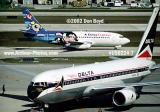 2002 - Delta B767-232 N102DA The Spirit of Delta and Delta Express B737-232 N310DA at FLL aviation airline stock photo #US0224