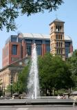 Fountain, Judson Church and NYU Law School  from Washington Square Park