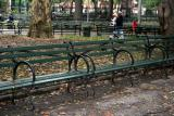 Empty Benches on a Wet Fall Day
