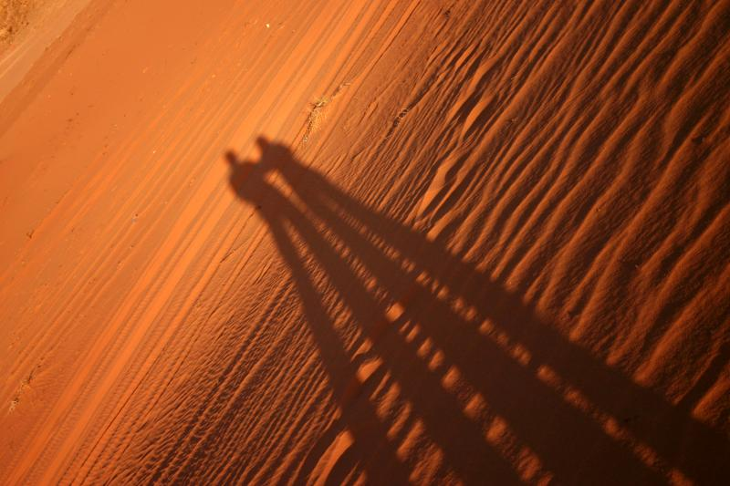 Shadows in the sand, Wadi Rum