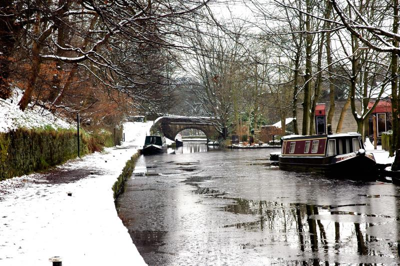Narrowboat on Canal in Wintertime