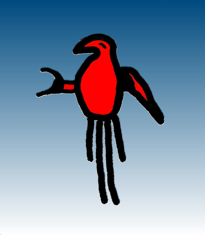 colored pictograph-Macaw, Northn N.M.