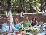 Picnic time-- Rustam, Natavan, me, Ayten, and bountiful food.