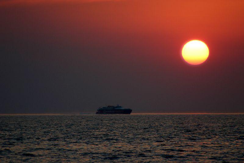Sun bathing ships, Greece, Series - sunset, Greece