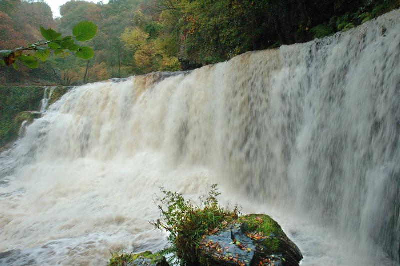New found waterfall in flood
