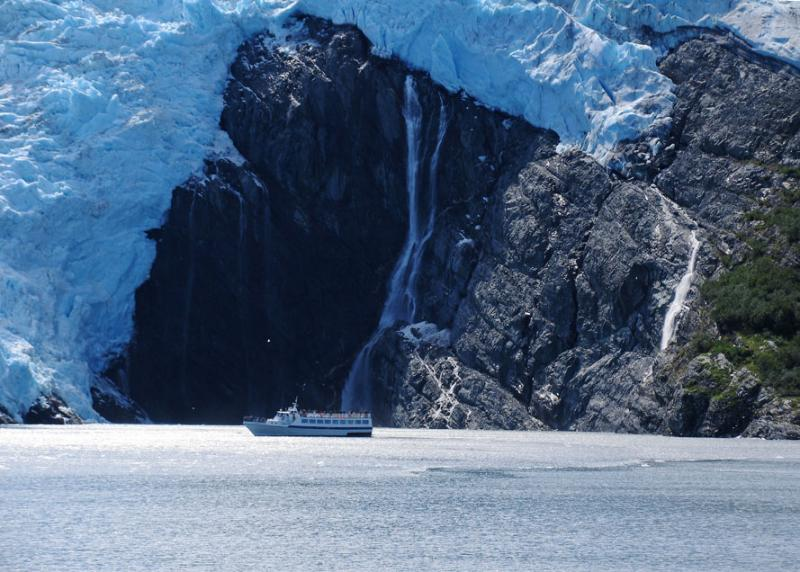Whittier Glacier and waterfalls on the sound of Prince