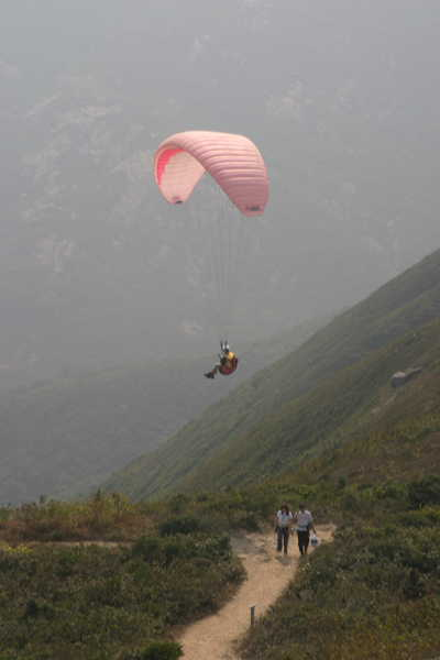 Pink Paraglider over trail