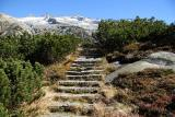 Steps to the snowy mountains
