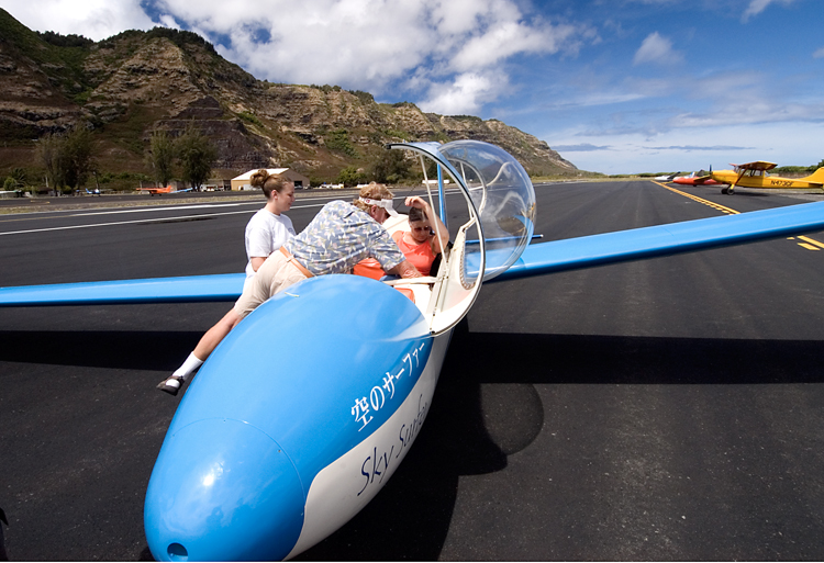 The girls getting in a glider