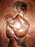 Woman with the coffee baby copper 38x28.5cm